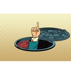 Index finger from manhole vector image