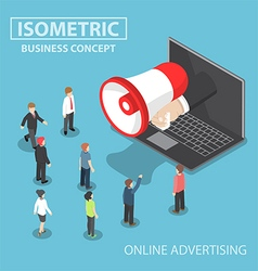 Isometric businessman hand with loudspeaker sticki vector image