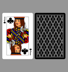 Jack of clubs playing card and the backside vector