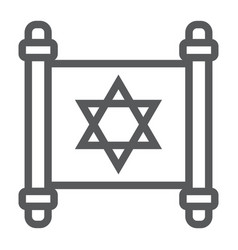 Jewish torah line icon israel and paper scroll vector