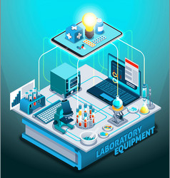 Laboratory equipment isometric composition vector