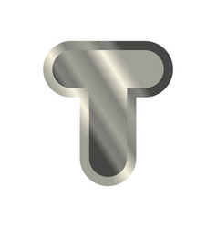 Letter t steel font metal alphabet sign iron abc vector