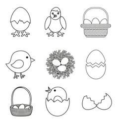 Line art black and white chicken eggs set vector