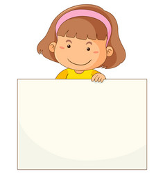 Little girl and blank paper vector