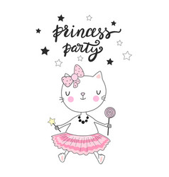 little princess card design princess party vector image
