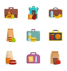 luggage icons set cartoon style vector image