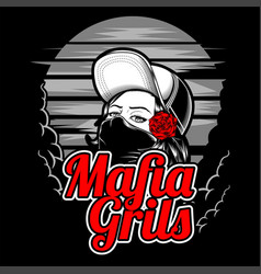 mafia girl wearing cap and rose hand vector image