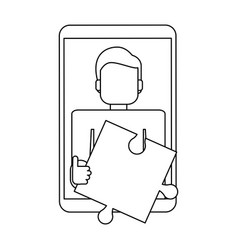 Man holding jigsaw on smartphone screen black and vector