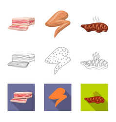 meat and ham symbol vector image