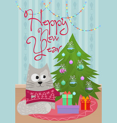 new year greeting card with vector image