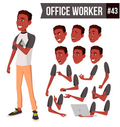 Office worker face emotions african vector