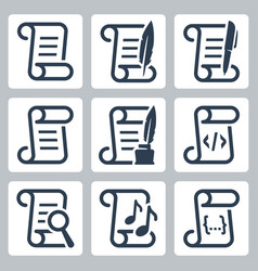 Paper scroll icon set vector