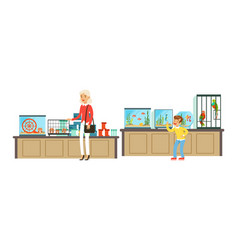 pet shop interior with seller and people buying vector image