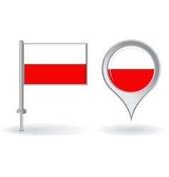 Polish pin icon and map pointer flag vector