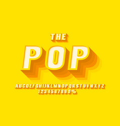 pop retro font set collection letters and numbers vector image