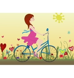 Pregnant girl rides a Bicycle on a blossoming vector image