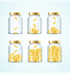 realistic 3d detailed money in jar set vector image