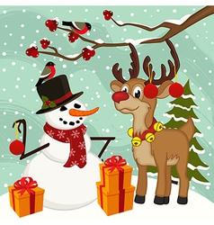 reindeer snowman Christmas vector image