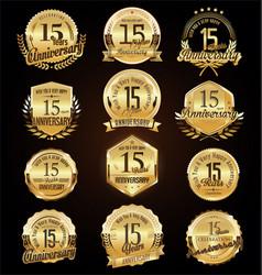 retro vintage anniversary golden badges vector image