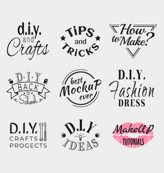 retro vintage insignias or logotypes set vector image