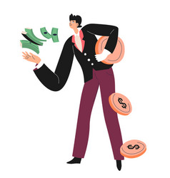 Rich and wealthy personage with banknotes coins vector