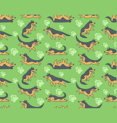 Seamless pattern with german shepherds vector