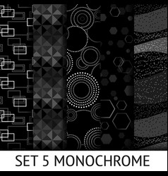 set 5 different monochrome seamless pattern vector image