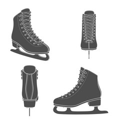 Set images with skates for figure skating vector