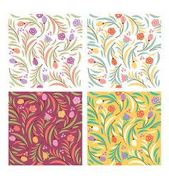 set od floral seamless patterns vector image