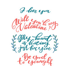 set of hand-written valentine day phrases vector image