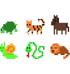 set of pixel characters vector image