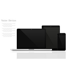 Set of realistic laptops tablets and mobile vector