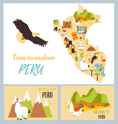 set tourist cards peru with landmarks vector image