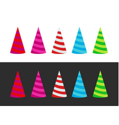 set varicoloured holiday cap on white and black vector image