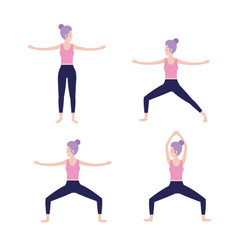 set woman practice exercise balance position vector image
