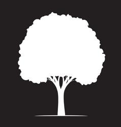 shape white tree on black background outline vector image