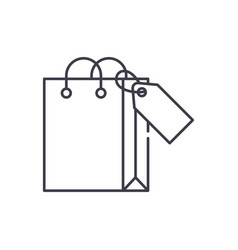 shopping package line icon concept shopping vector image