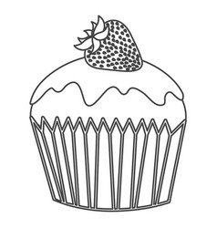 Silhouette sketch cupcake with strawberry fruit vector