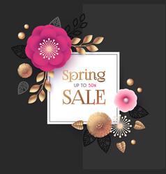 spring sale flower paper cut elegant design vector image