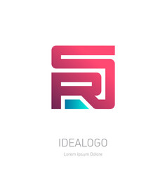 Sr or rs - design element or icon on white vector