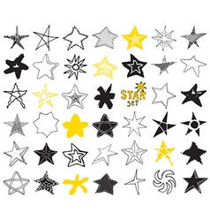 Star sketch Doodles set hand drawn isolated vector