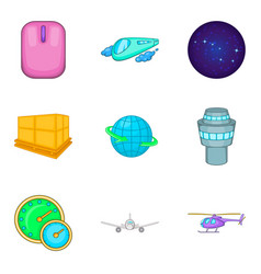 Stratosphere icons set cartoon style vector