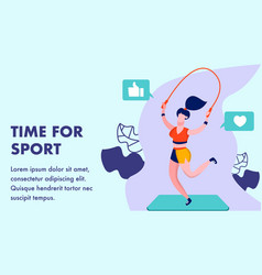 time for sport gym flat banner template vector image