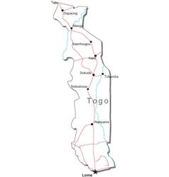 Togo Black White Map vector image