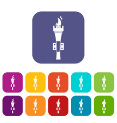 Torch icons set vector