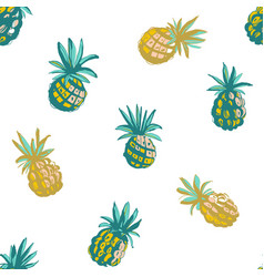 tropical beach party seamless pineapple pattern vector image