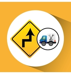 Truck assitance with road sign vector
