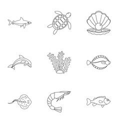 underwater fauna icons set outline style vector image
