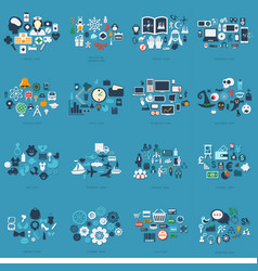 Unique and individual collection icons themes vector