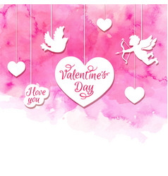 Valentine background with cupid and hearts vector